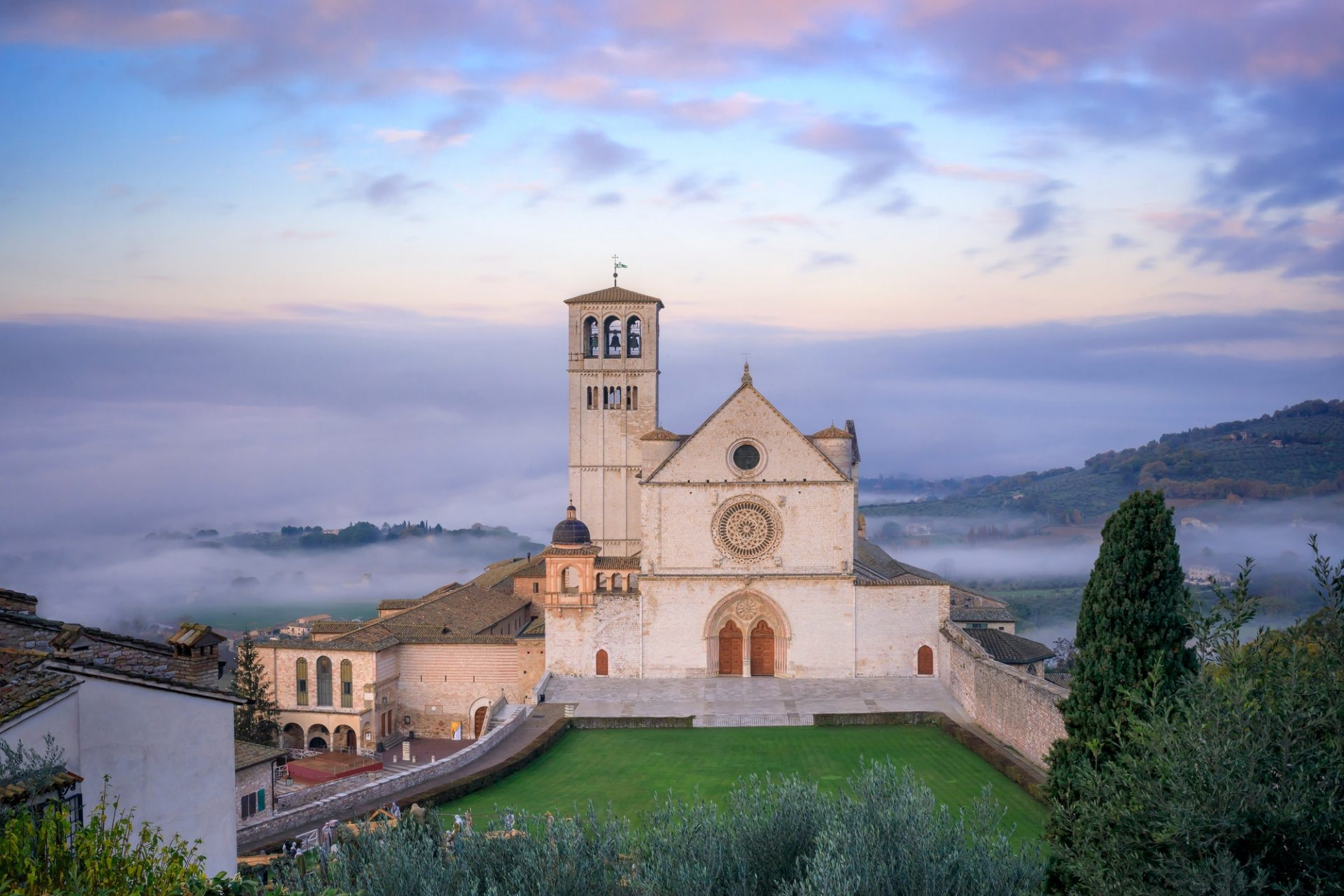 The majestic Basilica of San Francesco in Assisi, Italy